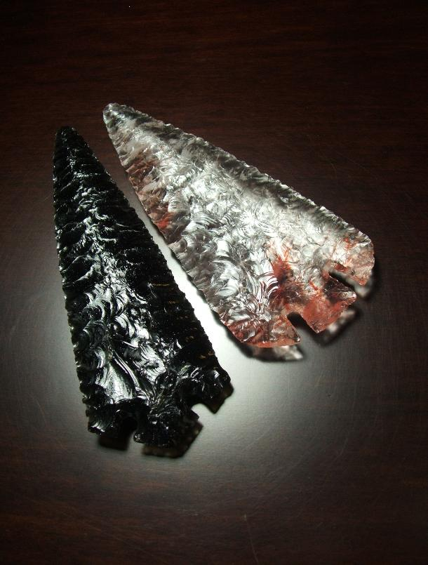 Obsidian Ross Blade--2010 A.D.--and Vitrified Quartz Archaic style blade--2007 A.D.