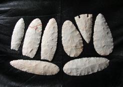 Paleo and Archaic Style Blades of Keokuk Chert -- 2006 A.D.