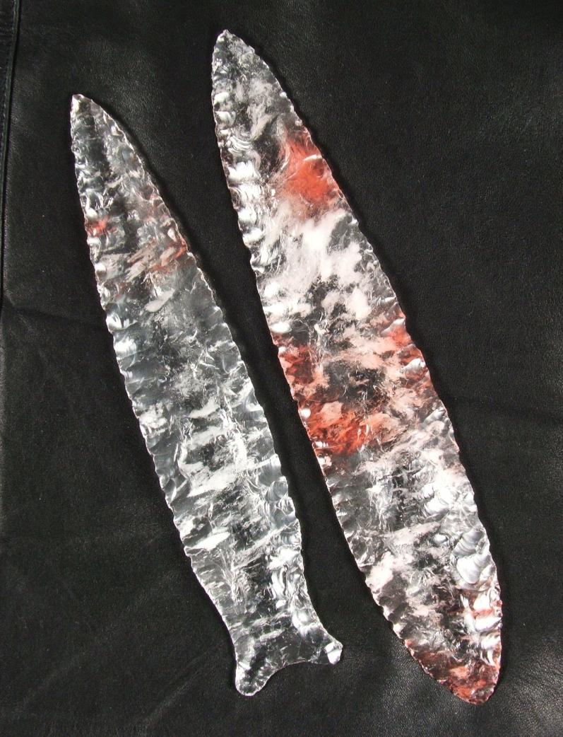 Paleo Indian Dalton Style Lance Point and Solutrean Laurel Leaf Style Blade -- 2007 A.D.